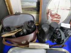 TWO PAIRS OF BINOCULARS VIZ SUPER ZENITH 10X50 TOGETHER WITH CASED JENOPTEM 8X30