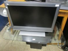 """SONY 26"""" FLAT SCREEN TV TOGETHER WITH GLASS TOPPED STAND"""