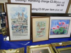 SELECTION OF VARIOUS FRAMED PICTURES INCLUDING NEEDLEWORK, VARIOUS PRINTS ETC