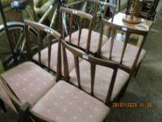 SET OF SIX UPHOLSTERED DINING CHAIRS, EACH HEIGHT APPROX 91CM