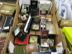 BOX CONTAINING SELECTION OF VARIOUS WATCHES, TIE CLIPS, HIP FLASKS ETC