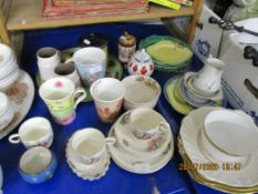 VARIOUS HOUSEHOLD CERAMICS INCLUDING WEDGWOOD LEAF PLATES, CROWN DEVON ETC TOGETHER WITH A COLIBRI