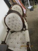 PAIR OF BUTTON BACK UPHOLSTERED BEDROOM CHAIRS, HEIGHT 102CM