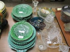 QUANTITY OF VARIOUS LEAF PLATES, TOGETHER WITH ASSORTED PRESSED GLASS, MARBLES ETC