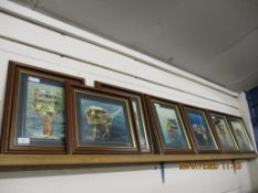 INTERESTING SELECTION OF FRAMED PHOTOGRAPHS DEPICTING NORTH SEA DRILLING RIGS, EACH FRAME APPROX