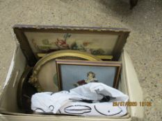BOX CONTAINING A QUANTITY OF FRAMED NEEDLEWORK, PICTURES ETC