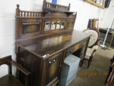 MIRROR BACKED AND GALLERIED SIDEBOARD, WIDTH APPROX 137CM