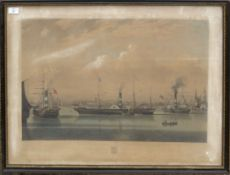 """After J Ward, engraved by R G Reeve, """"The Steam Ship Wilberforce"""", hand coloured aquatint, published"""