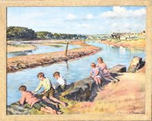 After Stanhope A Forbes, Children by an estuary wall, coloured print, 45 x 56cm