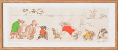 Boris O'Klein, comical cats and dogs, set of four coloured etchings, all signed and inscribed with