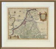 Abrahami Ortelii, hand coloured engraved map of Belgii Veteris, 39 x 48cm