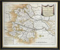 """Thomas Badeslade, hand coloured engraved map - """"A mapp of the Great Level of Ye Fenns called Bedford"""