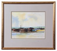 AR Gordon Hales, RSMA, FRSA (1916-1997), Shipping becalmed, watercolour, signed lower left, 28 x