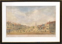 """After J Butcher, engraved by R Pollard, """"A south east view of the market place of Great Yarmouth"""","""