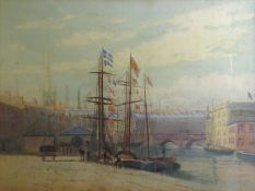 """Alfred O Townsend, RWA, """"The Welsh Loch, Bristol Docks"""", watercolour, signed lower left, 32 x 42cm"""