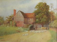 Fred Stratton, Landscape with figure and geese before a cottage, watercolour, signed lower left,
