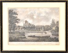 """After Parkyns, engraved by D Havell, """"The Cathedral and City of Ely"""", hand coloured aquatint,"""