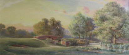"""A Kemp Tebby, """"The Bridge at Beeleigh, Essex"""", watercolour, signed lower left, 27 x 47cm"""