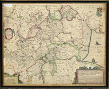 "Henrici Hondii, hand coloured engraved map - ""The Fenns"", 44 x 55cm"
