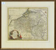 Emanuel Bowen, hand coloured engraved map - A new and accurate map of The Netherlands or Low