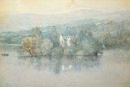 W Proudfoot (1822-1901), River scene with cottage, watercolour, signed lower left, 38 x 55cm