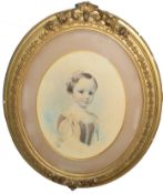 J Caw (19th century), Portrait of a young child, watercolour, signed and dated 1863 lower right,