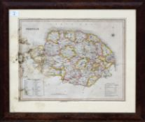T I Murray, hand coloured engraved map of Norfolk, 35 x 45cm