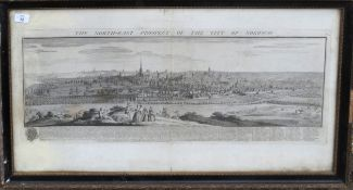 """After S & N Buck, """"The North East Prospect of the City of Norwich"""", black and white engraving, 25"""