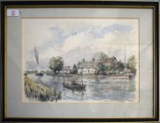 """Derek Abel (1925-2008), """"Horning Ferry"""", pen, ink and watercolour, signed, dated 85 and inscribed"""