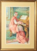 C Mannuci, Cardinal playing a piano, watercolour, signed top right, 38 x 24cm