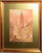 Edward Nevil (19th/20th Century), 'Antwerp' & 'Brussells', pair of watercolours, both signed lower