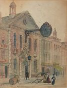 Paul Braddon, Street scene with figures, watercolour, signed lower left, 37 x 27cm