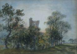 "East Anglian School, (19th century), ""Caistor Castle"", watercolour, 25 x 35cm"