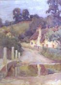 Joseph Harold Swanwick, Landscape with cottage, watercolour, signed lower left, 33 x 24cm