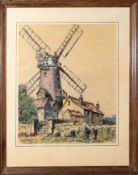 """John Rees, """"Cley Mill"""", pen, ink and watercolour, signed lower left, 37 x 30cm"""