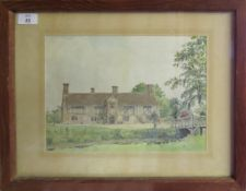 """James Dudley Haynes, """"Flemings Hall, Bedingfield, Suffolk"""", watercolour, signed lower left, 23 x"""
