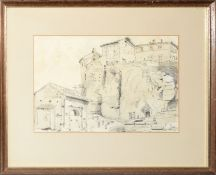 Augustus Hare, pencil drawing, Walls of Valuiontone, 17 x 25cm