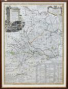 Emanuel Bowen, hand coloured engraved map - An accurate map of the County of Huntingdon, 70 x 53cm