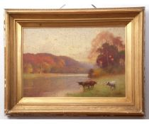 Benjamin D Sigmund (1857-1947), River landscape with cattle, watercolour, signed lower right, 35 x