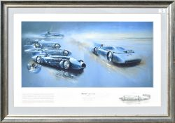 """David Weston, """"Bluebird, 1927-1935"""", coloured print, signed and numbered 25/250 and counter-signed"""