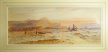 William Henry Earp, Lakeland and coastal scenes, pair of watercolours, both signed, 18 x 44cm (2)