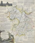 """Emanuel Bowen, hand coloured engraved map - """"An accurate map of Cambridgeshire divided into"""