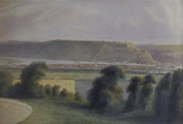 """J T R, """"Ehrenbreistein Castle and Koblenz from Ford Alexander, 1842"""", watercolour, initialled and"""