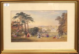 """After C F Buckley, """"London from Greenwich Hill"""", good quality reproduction coloured print, 24 x 42cm"""