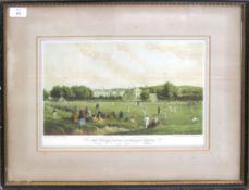 """The Cricket Match, Tonbridge School"", reproduction coloured print, 21 x 36cm"
