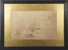 Attributed to Philippe Jacques de Loutherbourg (1740-1812), A sea battle (possibly a study for his