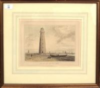 """William Daniell, """"The Orfordness Lighthouse, Suffolk"""", hand coloured aquatint, published circa 1822,"""