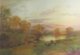 J Hill, Sheep in a landscape, watercolour, signed lower left, 33 x 46cm