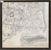Engraved map of Great Yarmouth and surrounding area, 60 x 60cm