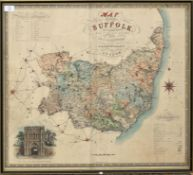 C & J Greenwood, hand coloured engraved map of the County of Suffolk, 60 x 70cm